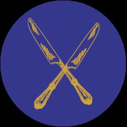 Gekreuzte Messer auf einem blauen Hintergrund